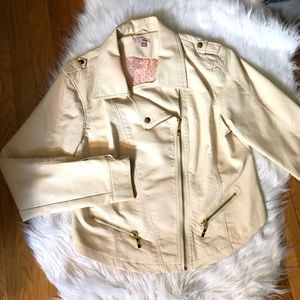 Waisted leather look jacket